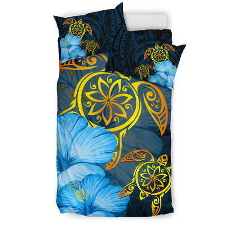 Hawaii Bedding Set - Turtle Hibiscus Pattern Hawaiian Bedding Set - Blue