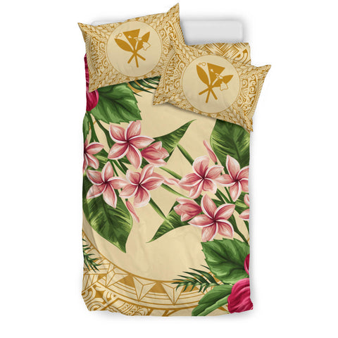 Strong Pattern Hibiscus Plumeria Bedding Set