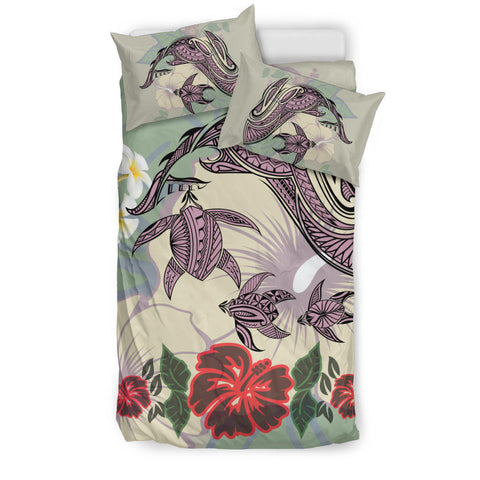 Hawaii Turtle Shark Hibiscus Bedding Set - Beige - LH Style
