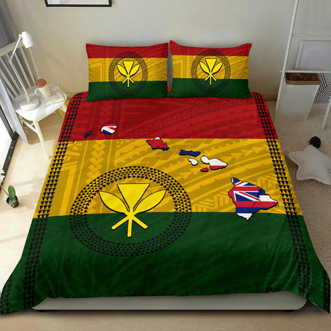 Image of Hawaii Kanaka Flag Polynesian Bedding Set - AH - J6