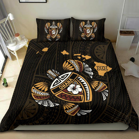 Hawaii Bedding Set - Kakau Polynesian Turtle Map  - King Size