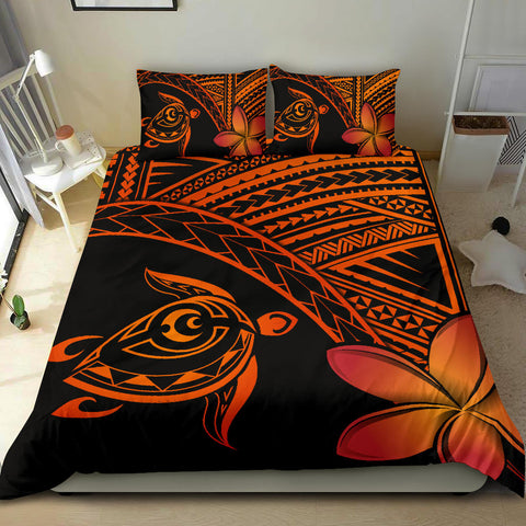 Image of Hawaiian Turtle Kakau Plumeria Polynesian Bedding Set  - AH J0 - Alohawaii