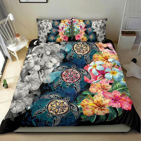 Image of Hawaiian Turtle Swimming Wave Plumeria Hibiscus Polynesian Bedding Set - Garden Style - AH - J5 - Alohawaii