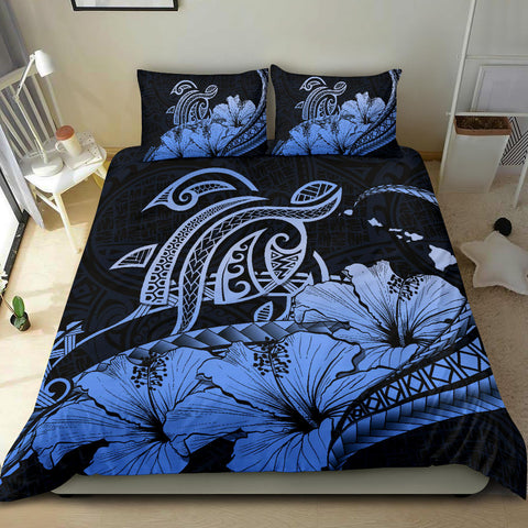 Hawaiian Map Hibiscus Turtle Polynesian Bedding Set Blue - AH - J1