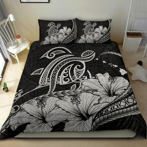 Hawaiian Map Hibiscus Turtle Polynesian Bedding Set Gray - AH - J1