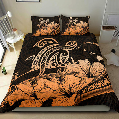 Hawaiian Map Hibiscus Turtle Polynesian Bedding Set Orange - AH - J1