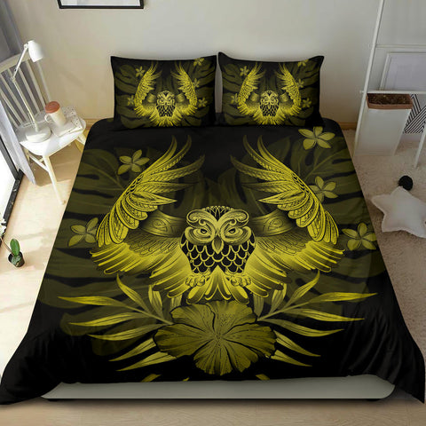 Hawaiian Owl Hibiscus Plumeria Polynesian Bedding Set - Yellow - AH J4