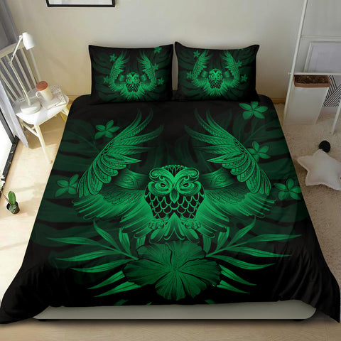 Image of Hawaiian Owl Hibiscus Plumeria Polynesian Bedding Set - Green - AH J4