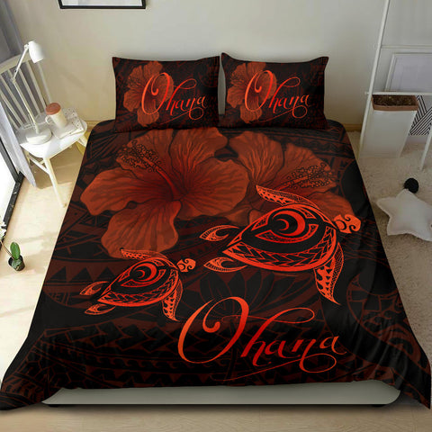 Hawaii Turtle Ohana Hibiscus Poly Bedding Set - Orange - AH J4