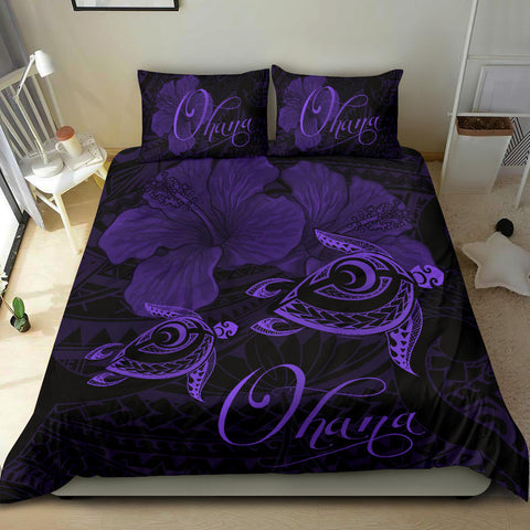 Hawaii Turtle Ohana Hibiscus Poly Bedding Set - Purple - AH J4 - Alohawaii