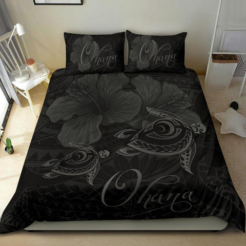 Hawaii Turtle Ohana Hibiscus Poly Bedding Set - Gray - AH J4