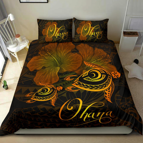 Hawaii Turtle Ohana Hibiscus Poly Bedding Set - Yellow - AH J4 - Alohawaii