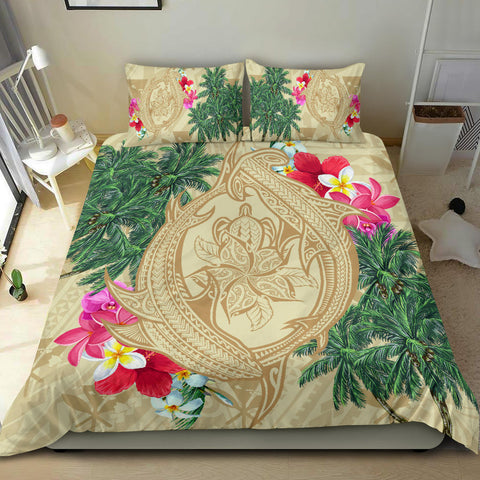 Hawaii Kanaka Maoli Palm Trees Turtle And Sharks Bedding Set - AH - J5 - Alohawaii