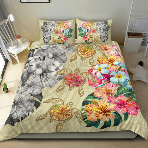 Hawaii Polynesian Flowers Swimming Turtles Bedding Set - AH - J5 - Alohawaii