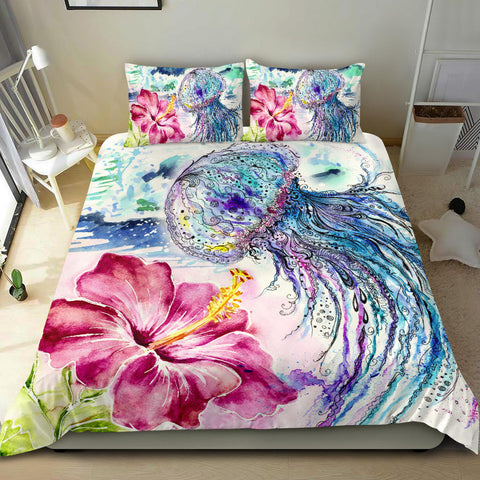 Jellyfish and Hibiscus Duvet Cover - Alohawaii