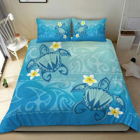 Hawaii Plumeria Deep Blue Turtle Bedding Set - AH - J5 - Alohawaii