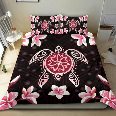 Hawaiian Pinky Turtle Plumeria Bedding Set - AH J0 - Alohawaii