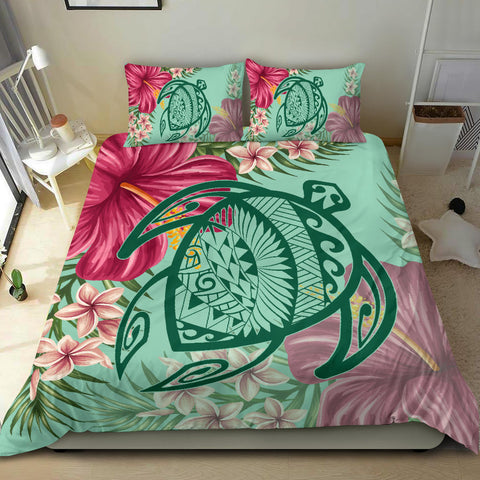 Hawaii Turtle Hibiscus Plumeria Bedding Set - Hug Style - AH - J4