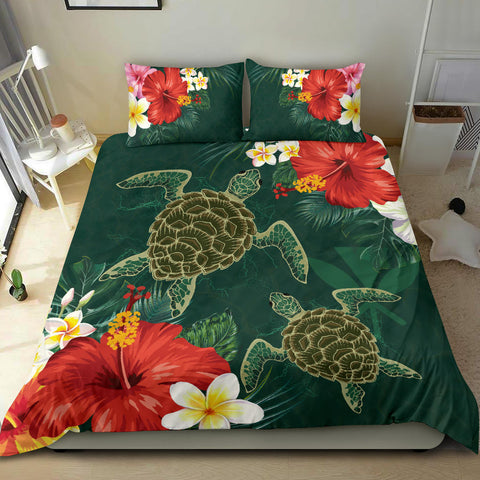 Hawaii Sea Turtle Hibiscus Plumeria Bedding Set - An Style - AH - J4 - Alohawaii