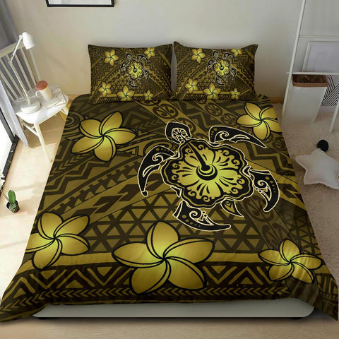 Hawaii Mix Polynesian Turtle Plumeria Bedding Set - AH - Nick Style - Yellow - J5