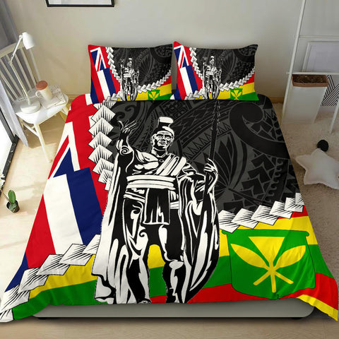 Hawaii Two Flag Kanaka Maoli King Polynesian Bedding Set - AH - J4