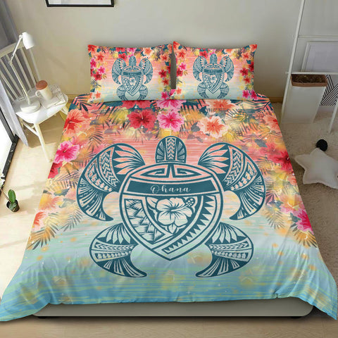 Alohawaii Bedding Set - Hawaii Turtle Ohana Stary Night Hibiscus Bedding Set - AH - J4