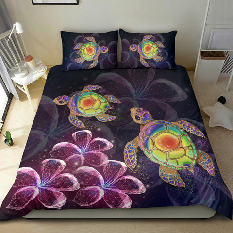 Alahawaii Bedding Set - Hawaii Galaxy Turtle Hibiscus Bedding Set - AH - J4