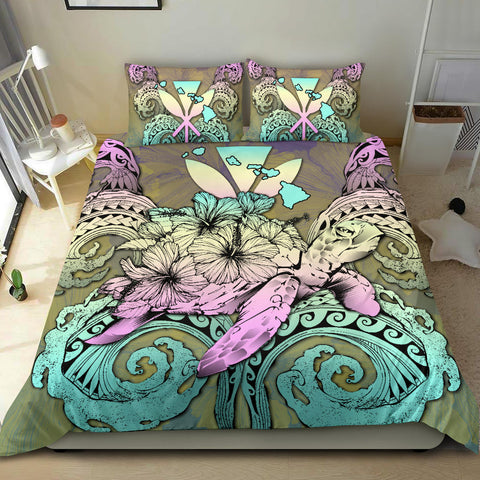 Hawaii Turtle Wave Polynesian Bedding Set - Hey Style Yellow - AH - J4 - Alohawaii