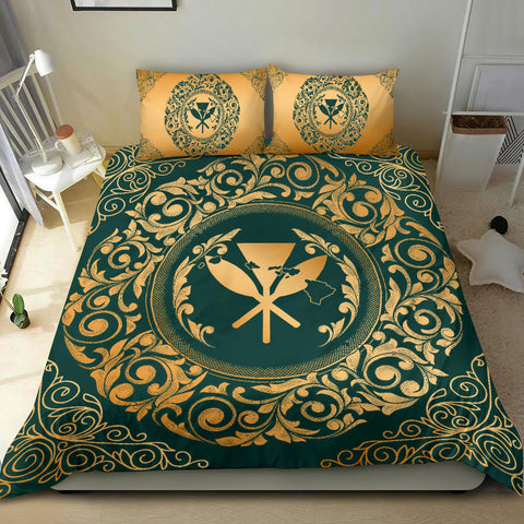 Hawaii Map Classic Floral Bedding Set Green - AH - J5