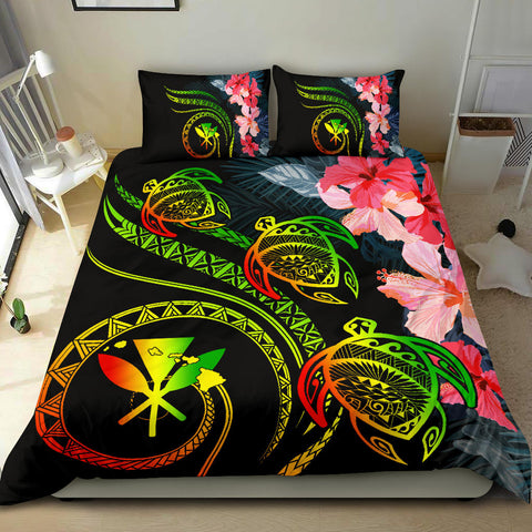 Alohawaii Bedidng Set - Hawaii Turtle Polynesian Tropical Bedding Set - Cora Style Reggae - AH - J4