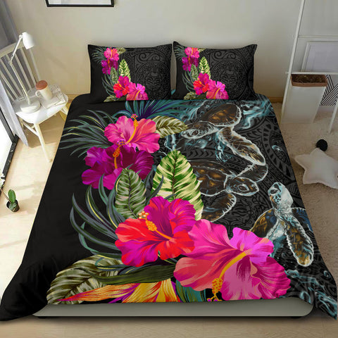 Polynesian Hibiscus Sea Turtle Bedding Set - AH - King Style - J5