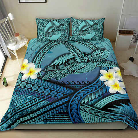 Hawaii Kakau Polynesian Plumeria Turtle Bedding Set