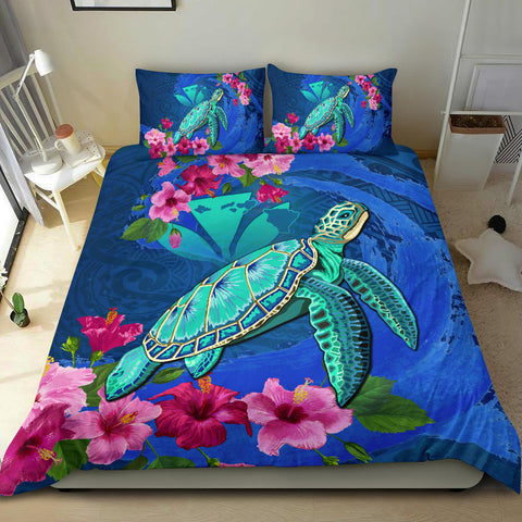 Alohawaii Bedding Set - Hawaii Honu Aumakua Sea Hibiscus Bedding Set - Nin Style - AH - J4