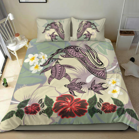 Hawaii Turtle Shark Hibiscus Bedding Set - Beige - AH - J3