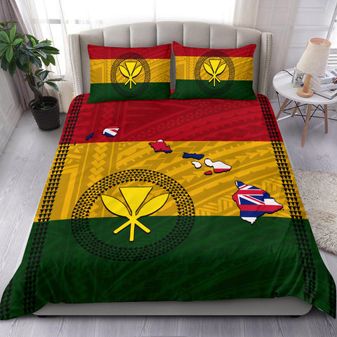 Image of Hawaii Kanaka Flag Polynesian Bedding Set - Alohawaii