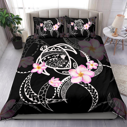 Image of Hawaiian Map Plumeria Turtle Swim Polynesian Bedding Set Black  - AH J9