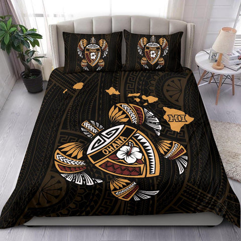 Hawaiian Bedding Set - Kakau Polynesian Turtle Map