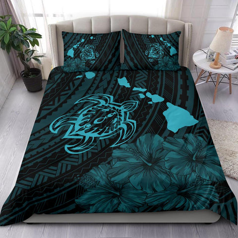 Image of Hawaiian Map Sea Turtle Is Swimming Toward Polynesian Bedding Set Blue - AH - J5 - Alohawaii