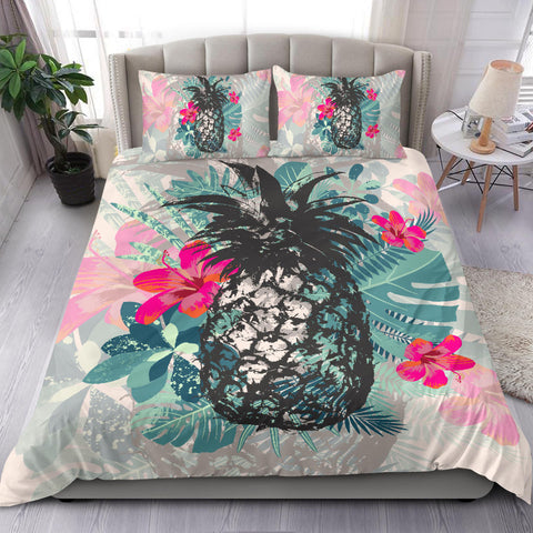Hawaiian Pineapple Hibiscus Polynesian Bedding Set - AH J9 - Alohawaii
