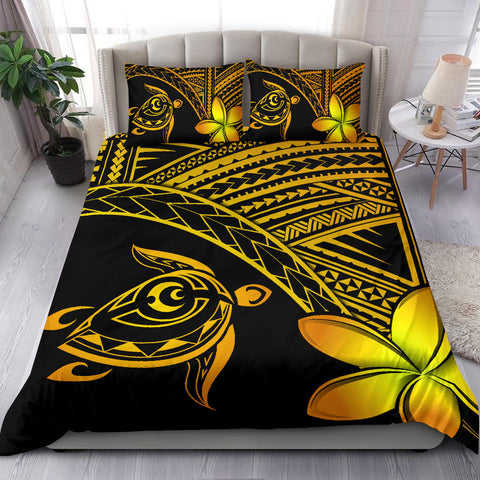 Image of Hawaiian Turtle Kakau Plumeria Polynesian Bedding Set Yellow - AH J0 - Alohawaii