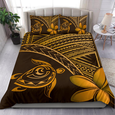 Hawaiian Turtle Plumeria Polynesian Bedding Set Neo Brown - AH J0 - Alohawaii