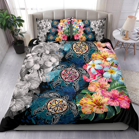 Hawaiian Turtle Swimming Wave Plumeria Hibiscus Polynesian Bedding Set - Garden Style - AH - J5 - Alohawaii