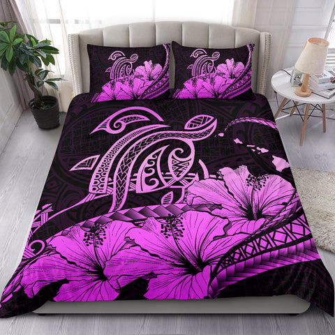 Hawaiian Map Hibiscus Turtle Polynesian Bedding Set Pink - AH - J1
