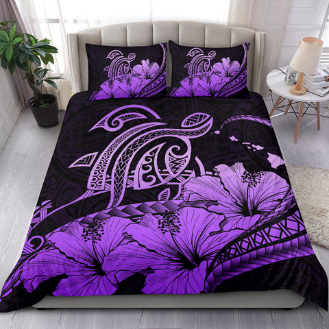 Hawaiian Map Hibiscus Turtle Polynesian Bedding Set Violet - AH - J1