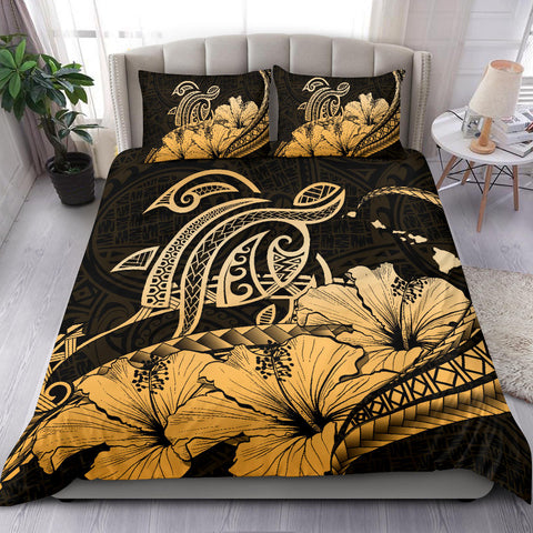 Hawaiian Map Hibiscus Turtle Polynesian Bedding Set Gold - AH - J1