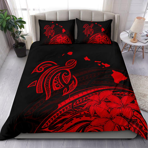 Hawaiian Map Turtle Plumeria Polynesian Bedding Set Red - AH - J1