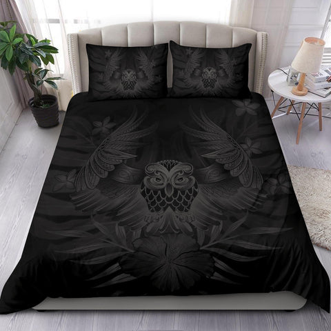 Image of Hawaiian Owl Hibiscus Plumeria Polynesian Bedding Set - Gray - AH J4