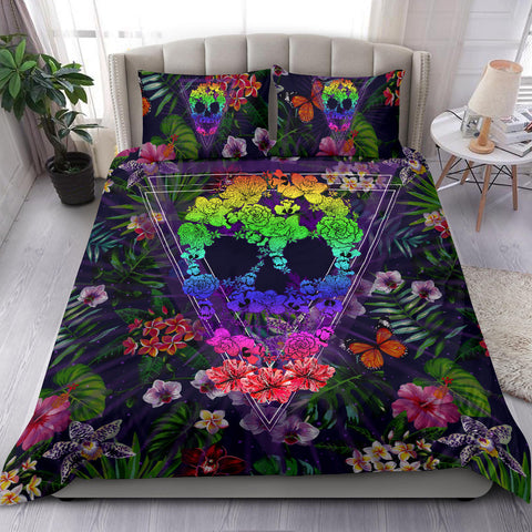 Hawaiian Skull Tropical Hibiscus Plumeria Flower Polynesian Bedding Set - AH - J5