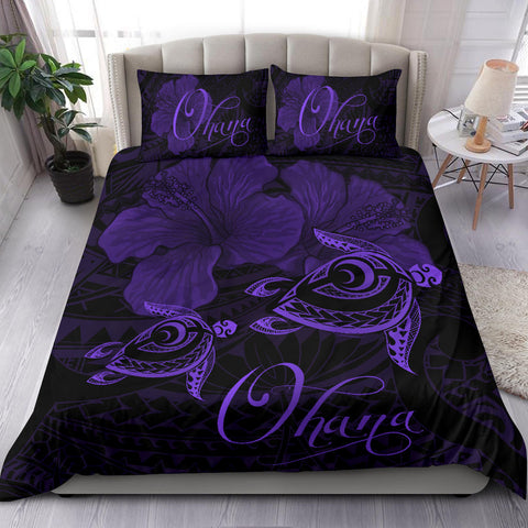Hawaii Turtle Ohana Hibiscus Poly Bedding Set - Purple - AH J4