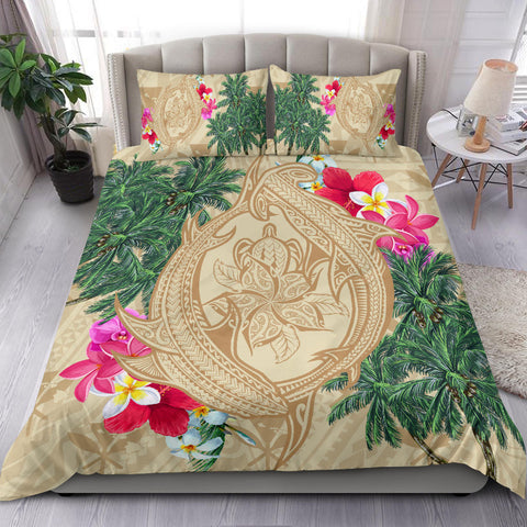 Image of Hawaii Kanaka Maoli Palm Trees Turtle And Sharks Bedding Set - AH - J5 - Alohawaii